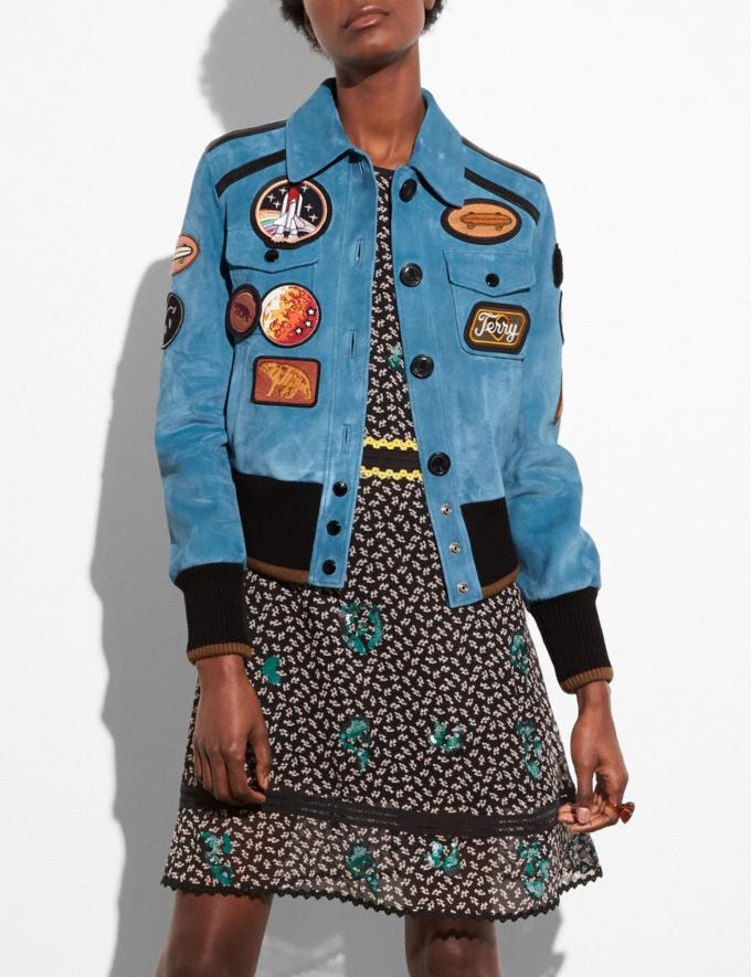 Coach Suede Jacket With Patches Chambray