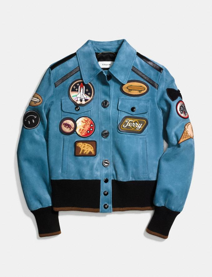Coach Suede Jacket With Patches Chambray  Alternate View 1