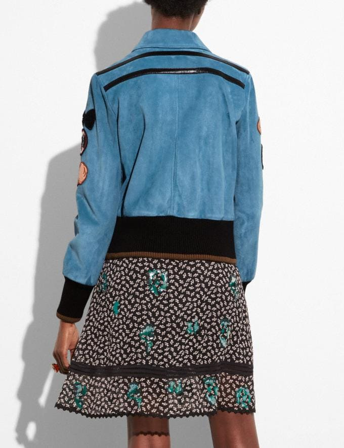 Coach Suede Jacket With Patches Chambray  Alternate View 2