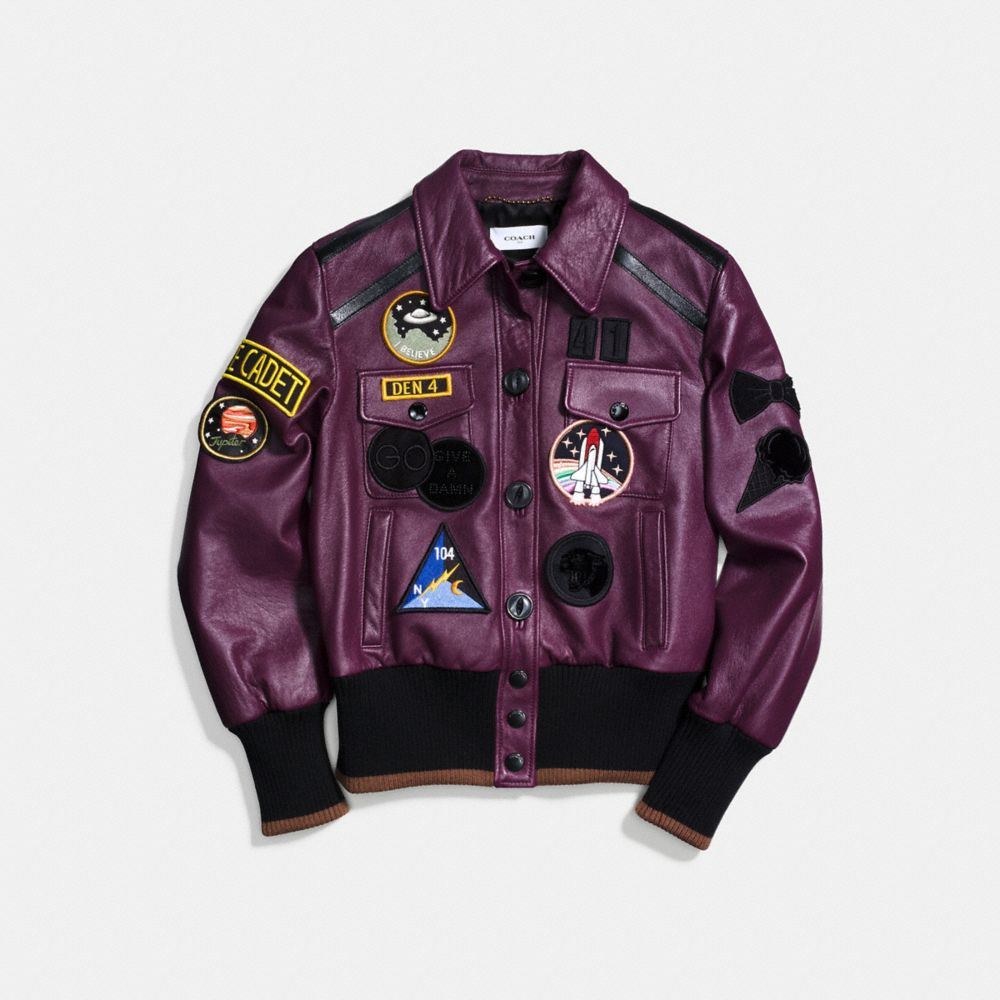 Coach Leather Jacket With Patches