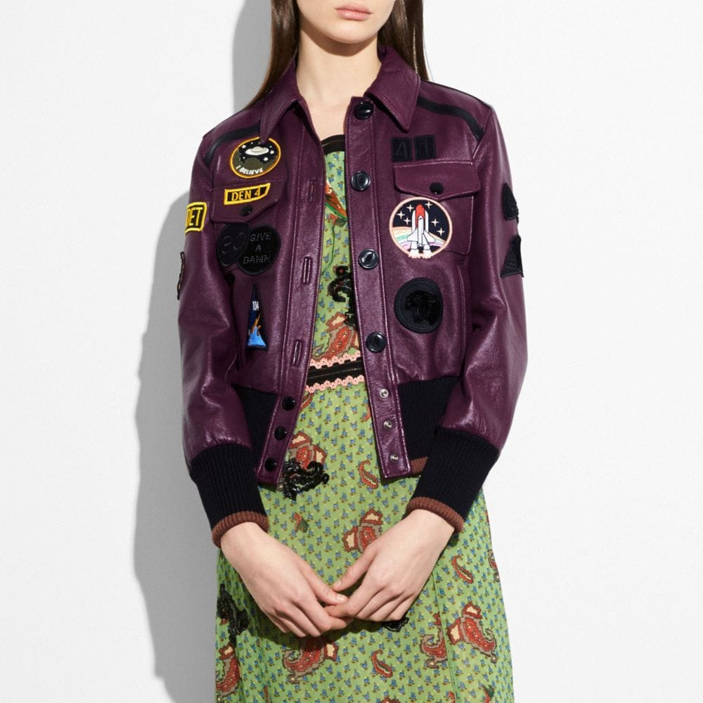 Coach Leather Jacket With Patches Alternate View 1