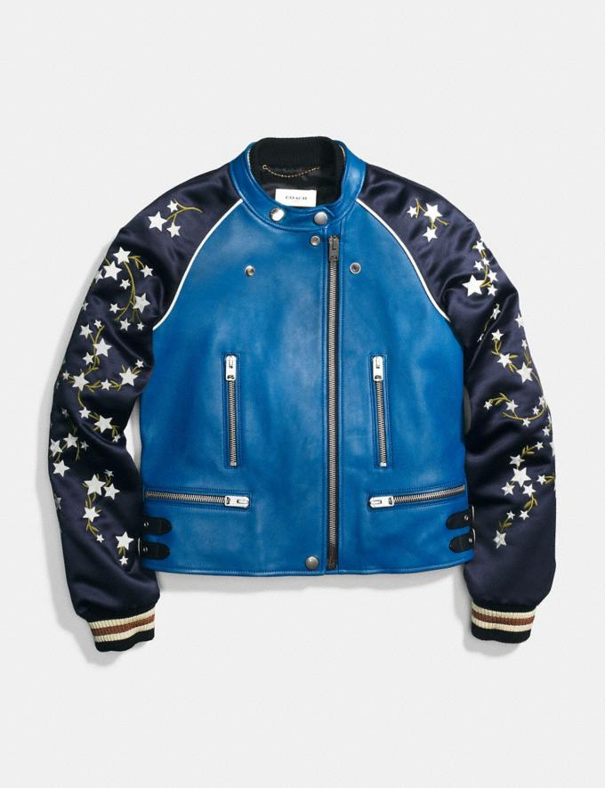 Coach Embroidered Cityscape Souvenir Jacket Slate Staff Sale