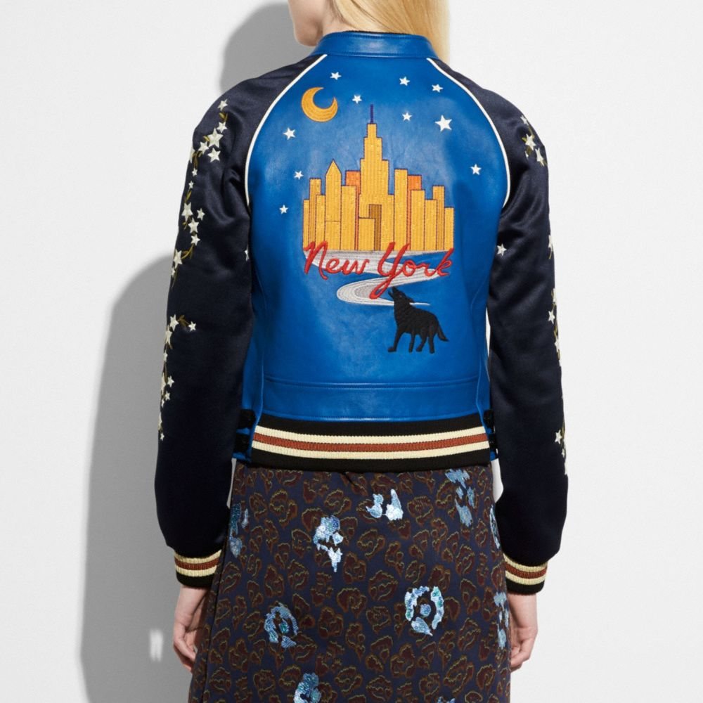 Coach Embroidered Cityscape Souvenir Jacket Alternate View 2