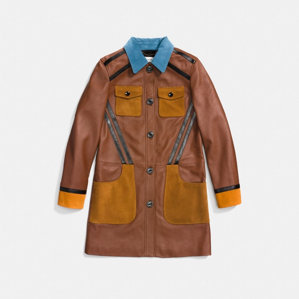 Coach Leather Coat With Suede Detail