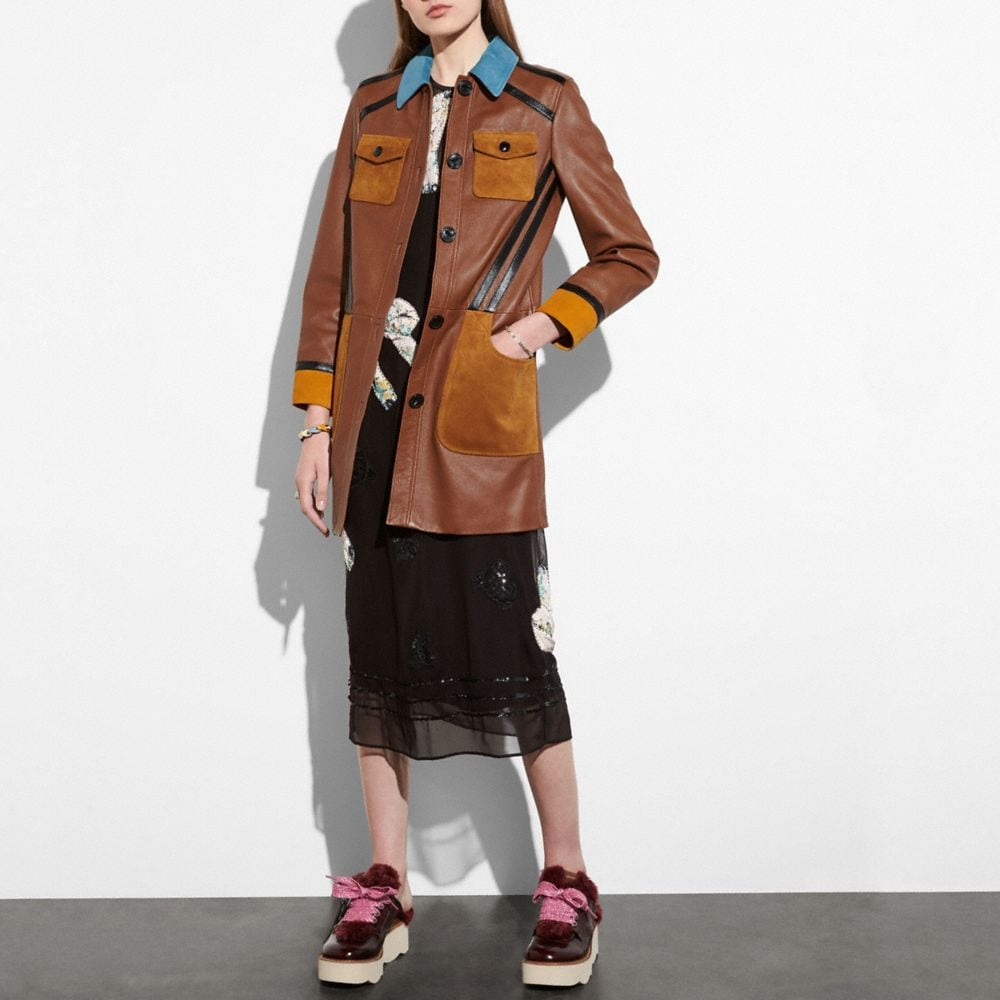 Coach Leather Coat With Suede Detail Alternate View 1