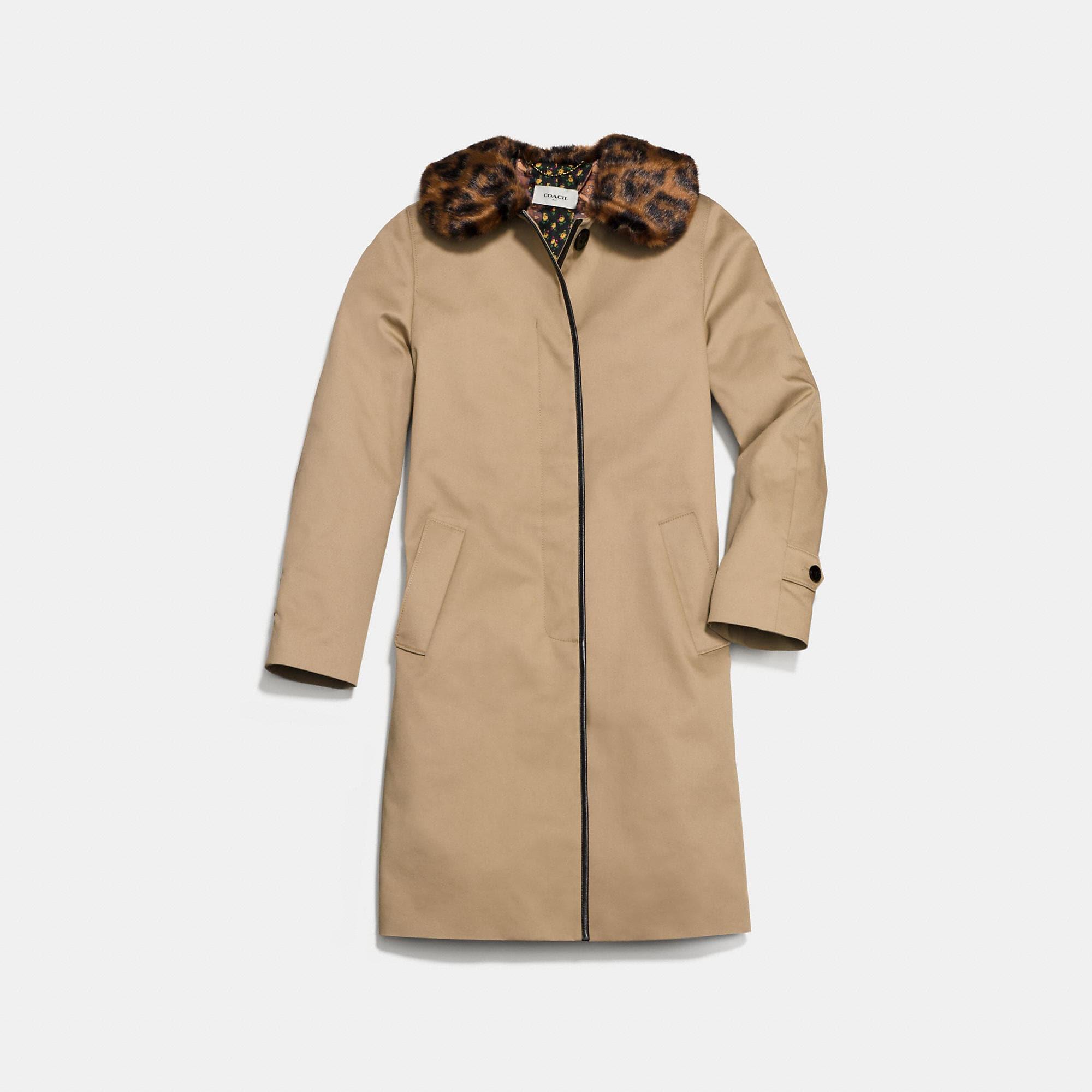 Coach Leather Trim Coat