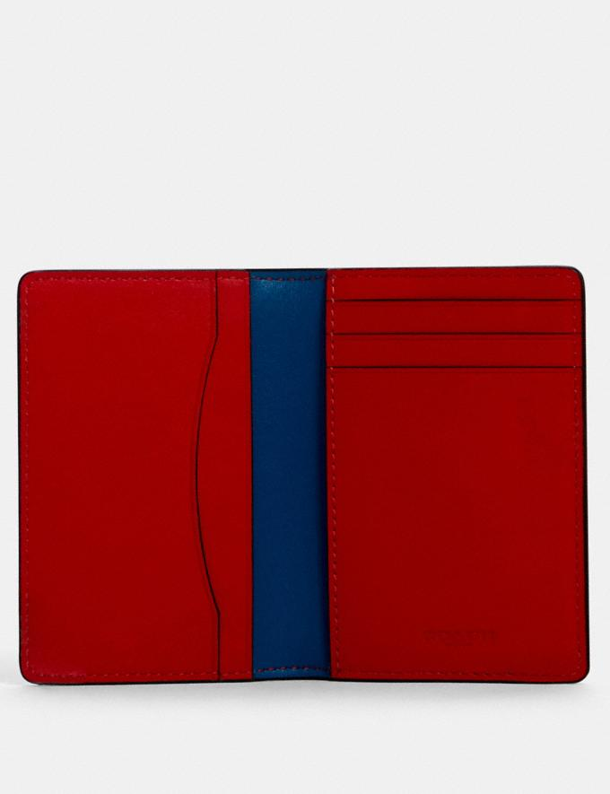 Coach Card Wallet in Colorblock Signature Canvas With Coach Patch Qb/Charcoal/ Blue Jay Multi  Alternate View 1