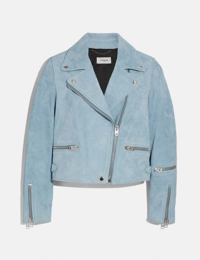 Coach Suede Ghost Biker Jacket Pale Blue