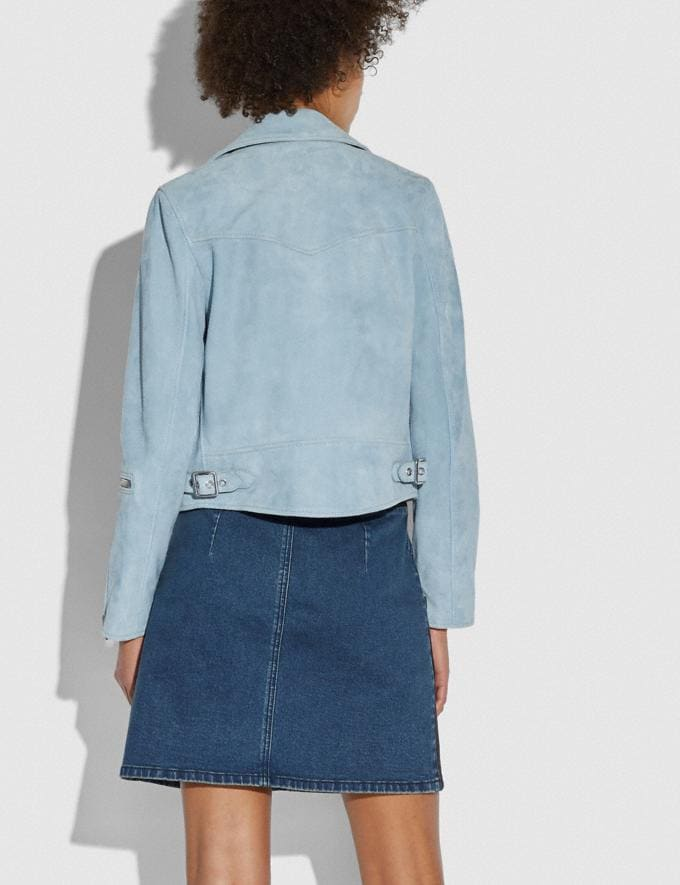 Coach Suede Ghost Biker Jacket Pale Blue  Alternate View 2