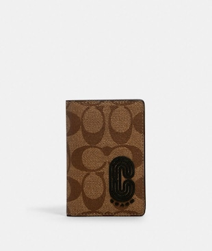 CARD WALLET IN SIGNATURE CANVAS WITH COACH PATCH