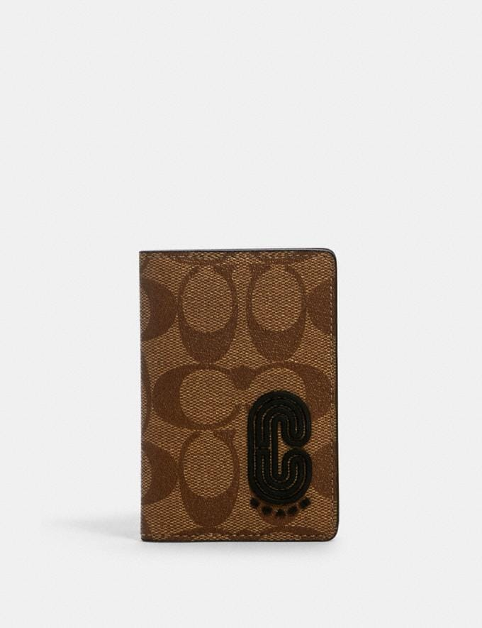 Coach Card Wallet in Signature Canvas With Coach Patch Qb/Tan Black Men