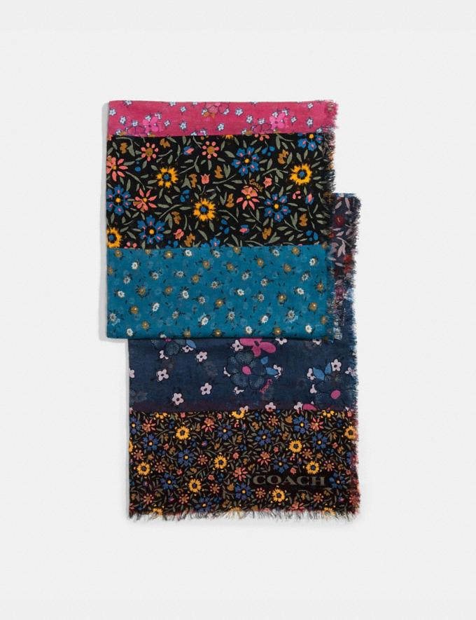 Coach Mixed Floral Print Oblong Scarf Black/Pink DEFAULT_CATEGORY