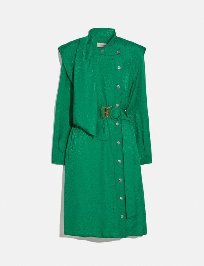 Coach Architectural Drape Belted Dress Green Women Ready-to-Wear Dresses