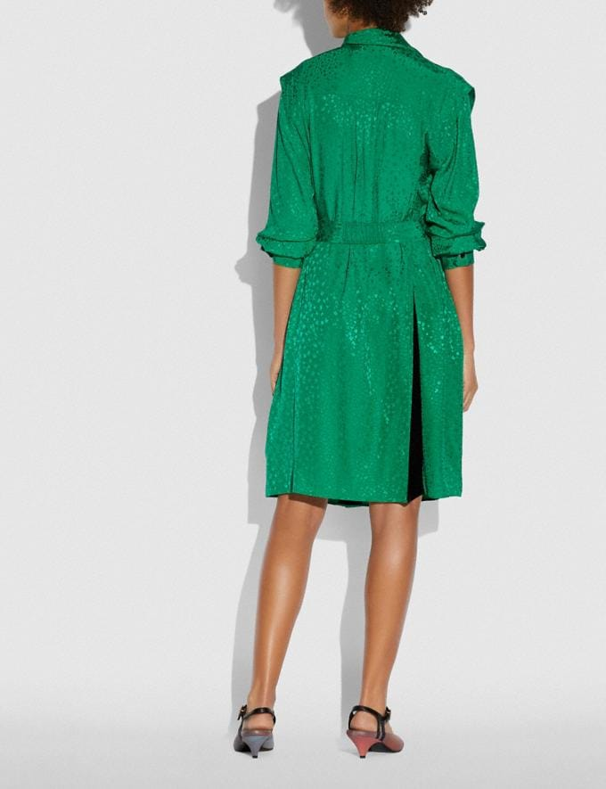 Coach Architectural Drape Belted Dress Green Women Ready-to-Wear Dresses Alternate View 2