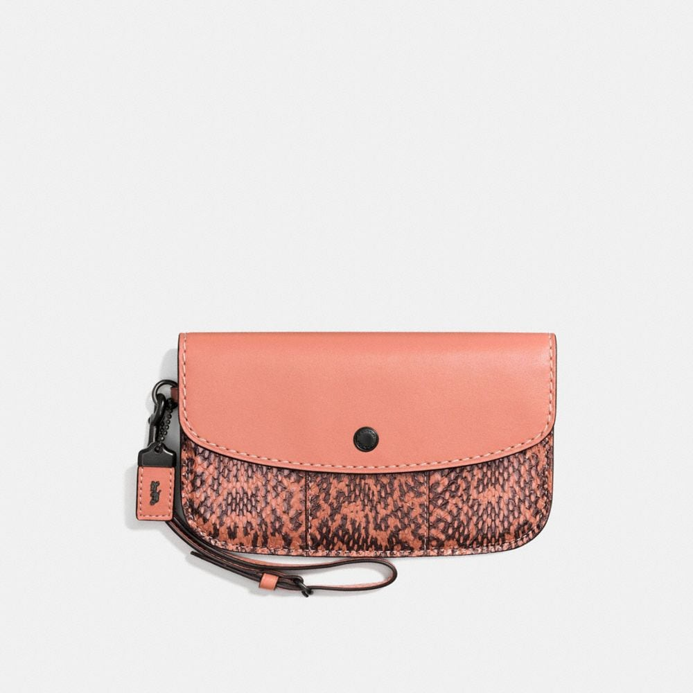 Coach Clutch With Colorblock Snakeskin Detail