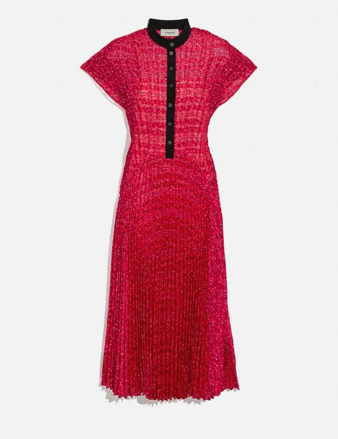 Coach Sleeveless Pleated Dress Red/Black Women Ready-to-Wear Dresses
