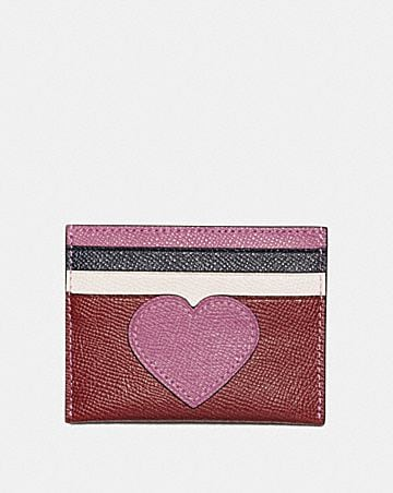 Womens card case wallet guide coach card case with heart motif colourmoves
