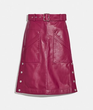 SATIN LEATHER SKIRT
