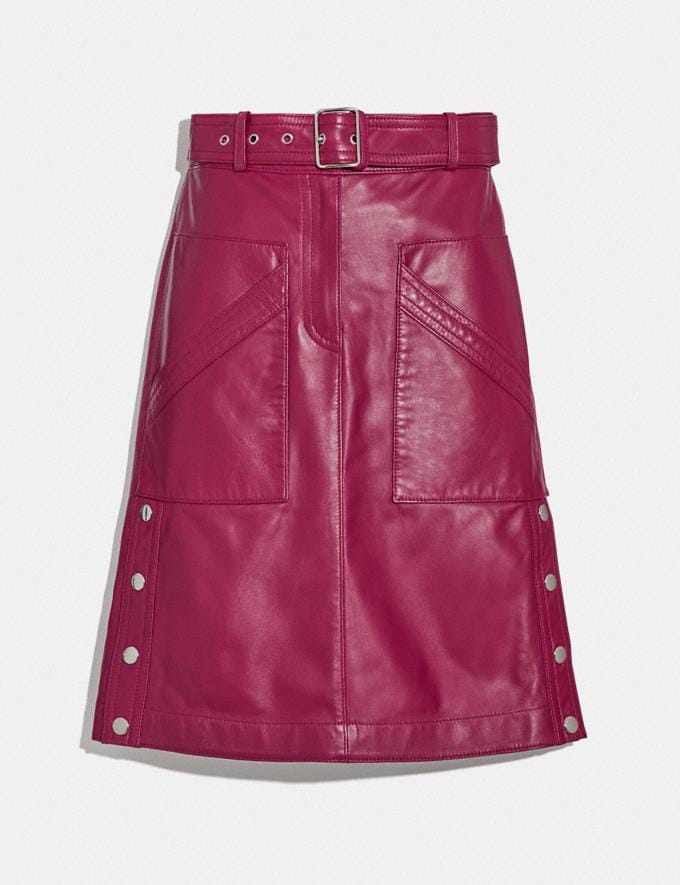 Coach Satin Leather Skirt Tweed Berry Women Edits Work