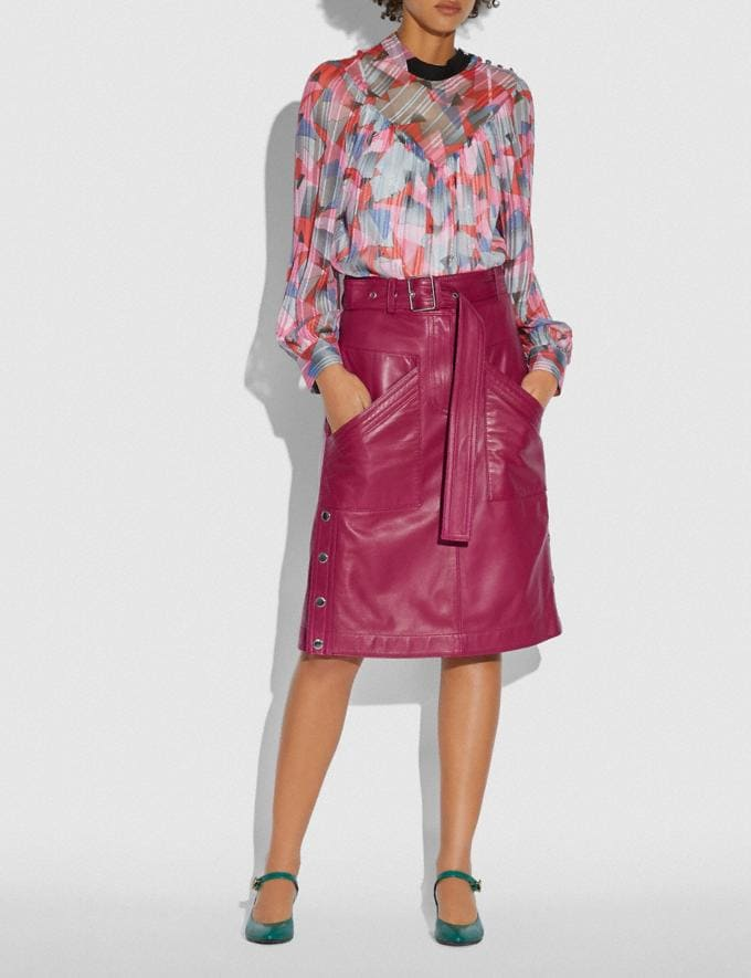 Coach Satin Leather Skirt Tweed Berry Women Edits Work Alternate View 1