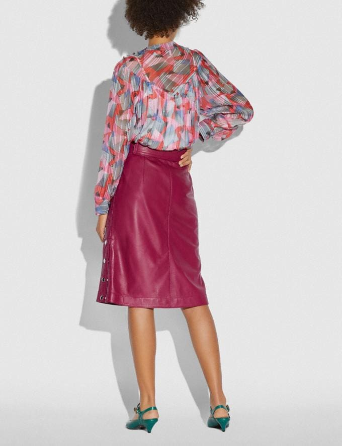 Coach Satin Leather Skirt Tweed Berry Women Edits Work Alternate View 2