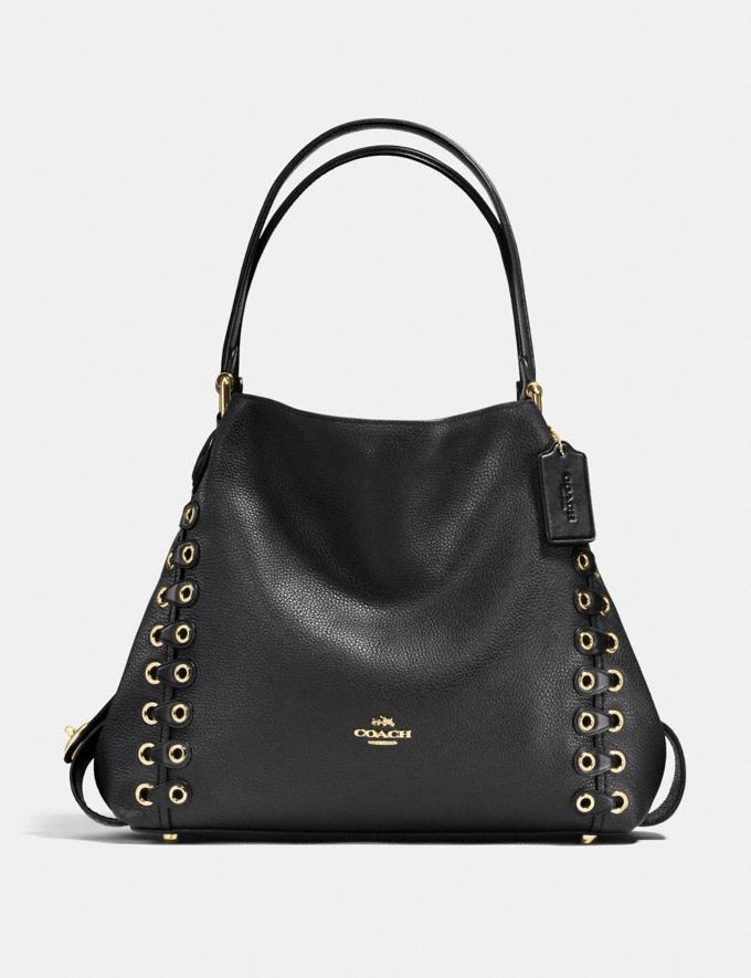 Coach Edie Shoulder Bag 31 With Coach Link Detail Black/Light Gold CYBER MONDAY SALE Women's Sale Bags