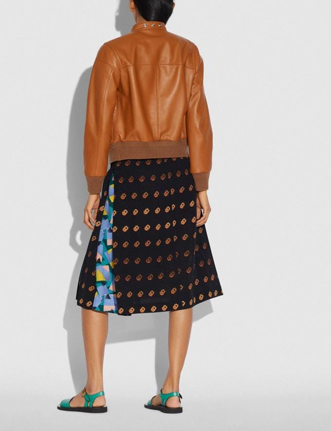 Coach Print Wrap Skirt Black/Orange New Women's New Arrivals Ready-to-Wear Alternate View 2