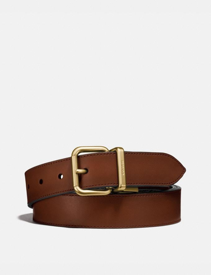 Coach Harness Buckle Cut-To-Size Reversible Belt, 32mm Dark Saddle/Black Men Accessories Belts