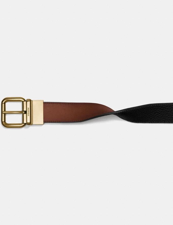 Coach Harness Buckle Cut-To-Size Reversible Belt, 32mm Dark Saddle/Black Men Accessories Belts Alternate View 1