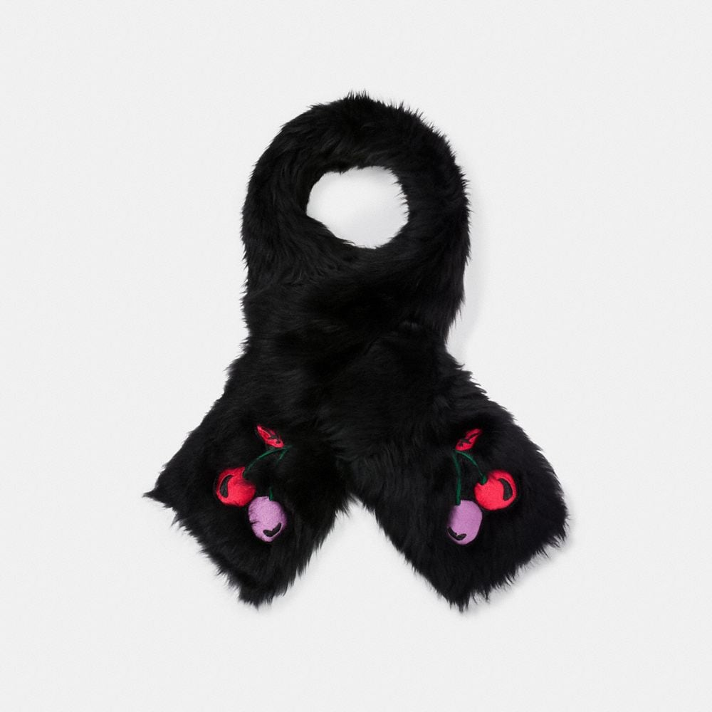 CHERRY EMBROIDERED SHEARLING SCARF