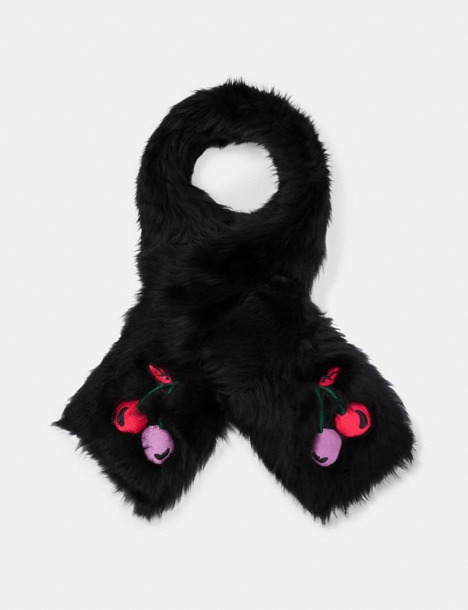 Coach Cherry Embroidered Shearling Scarf Black