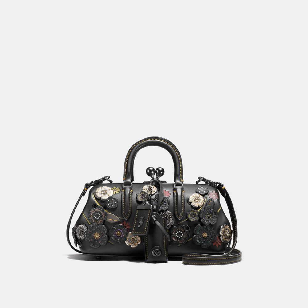 KISSLOCK SATCHEL IN GLOVETANNED LEATHER WITH TOOLED TEA ROSE