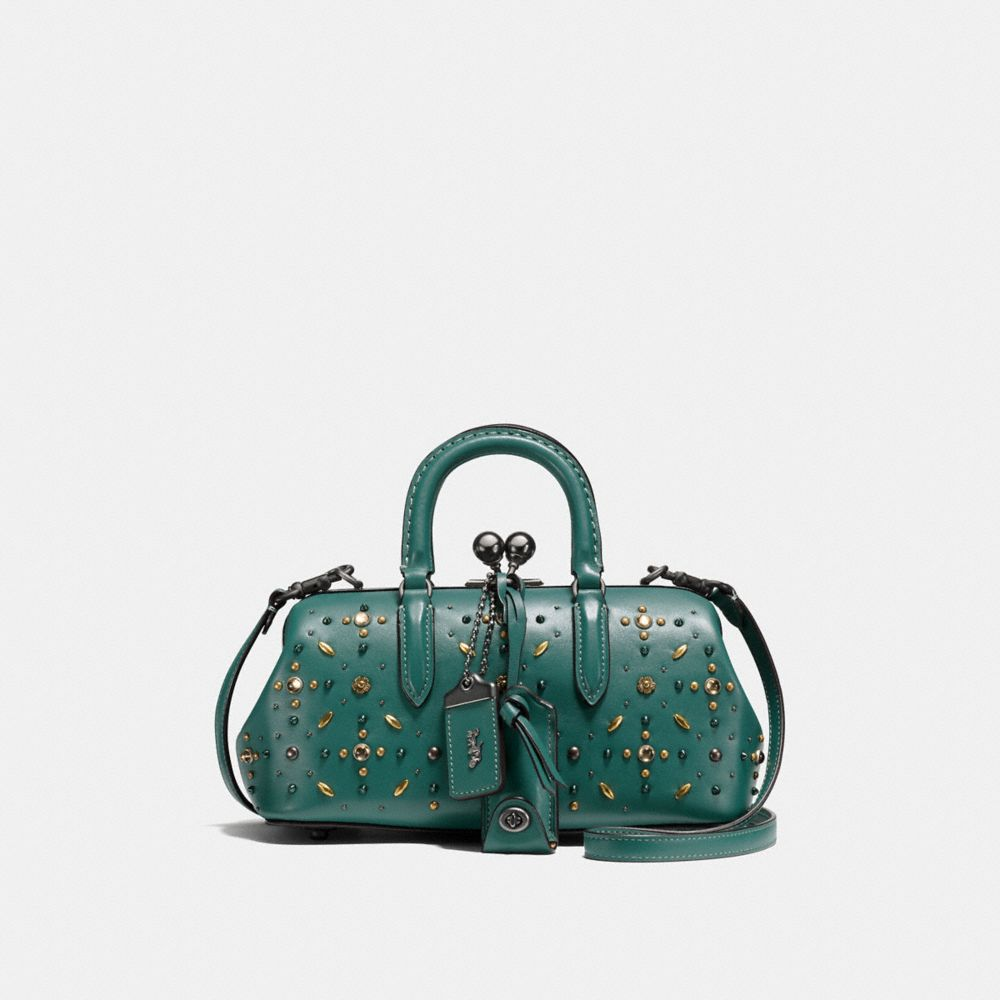 kisslock satchel with prairie rivets