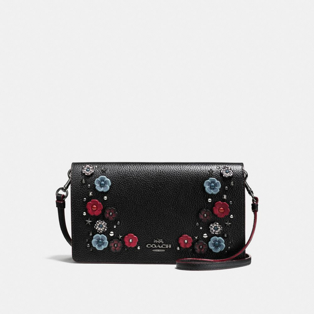 FOLDOVER CROSSBODY CLUTCH WITH SNAKESKIN WILLOW FLORAL
