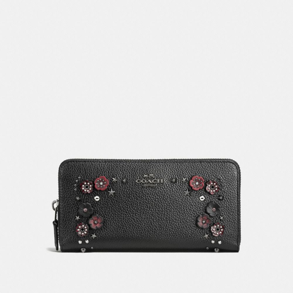 Accordion Zip Wallet in Polished Pebble Leather With Willow Floral
