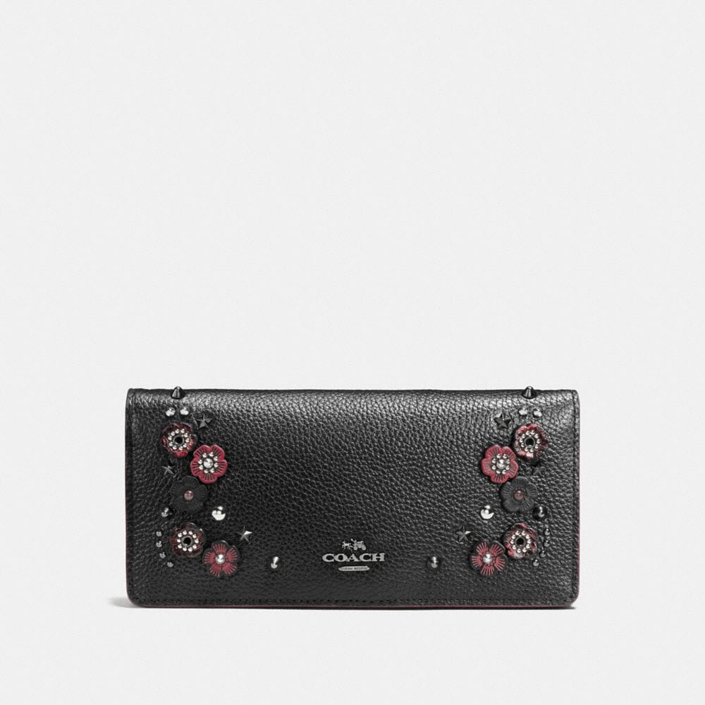 Slim Wallet in Polished Pebble Leather With Willow Floral