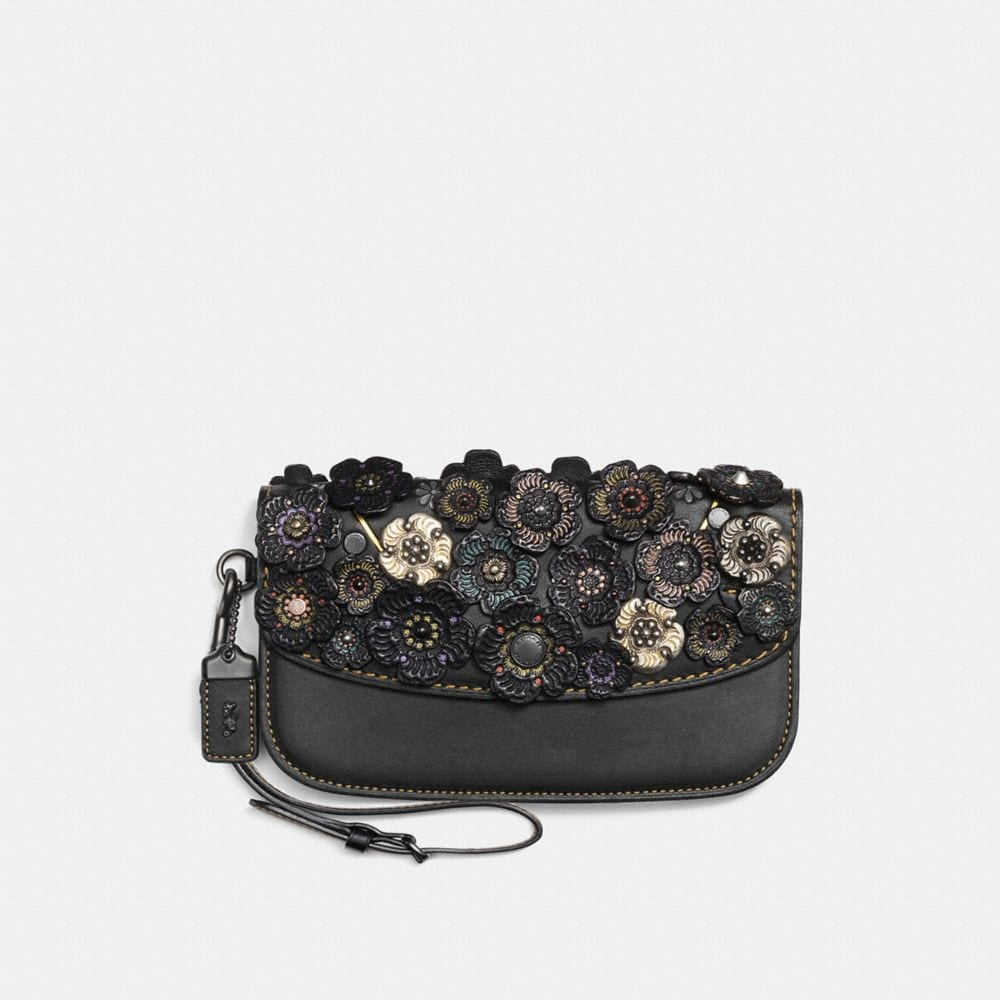 Coach Clutch With Tooled Tea Rose