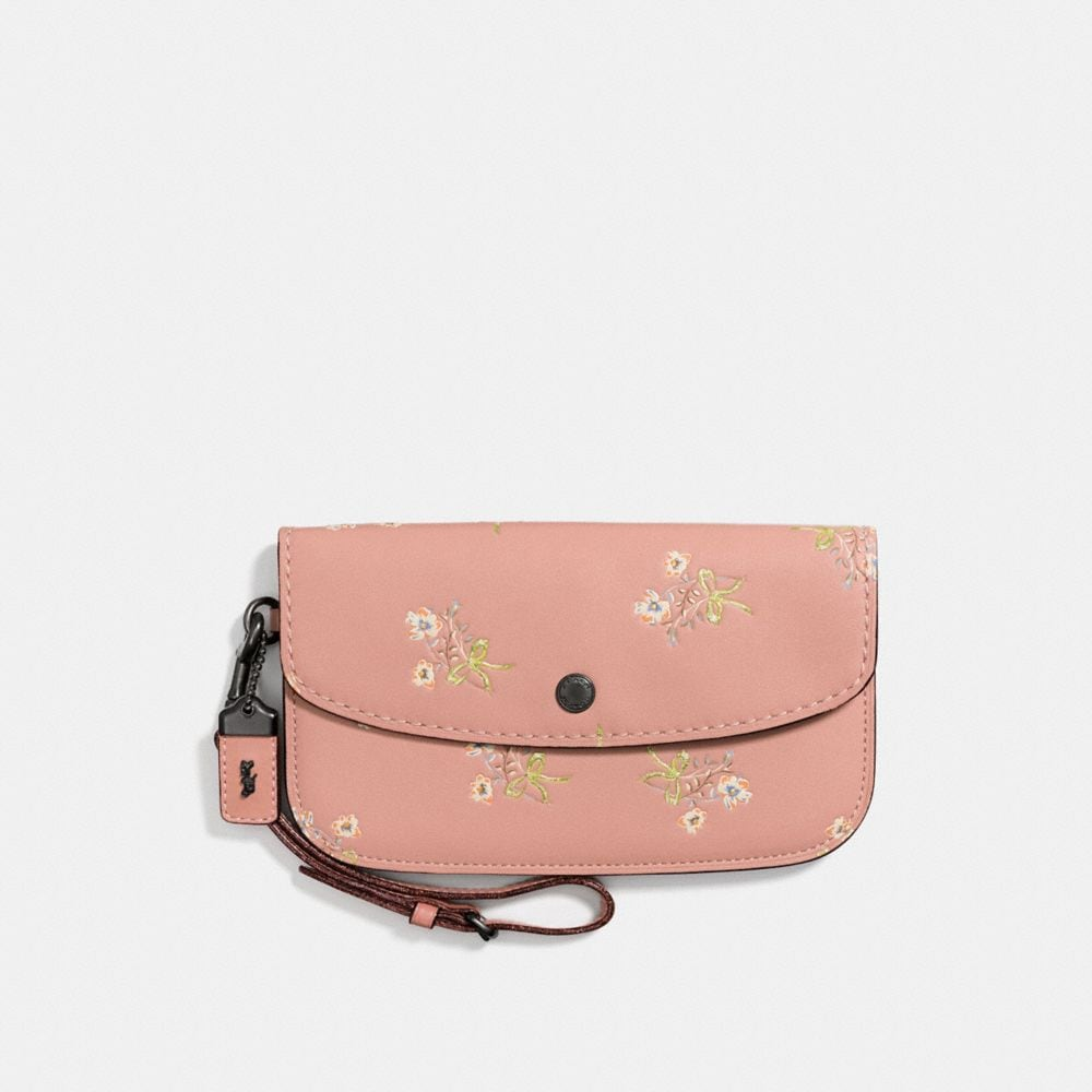 CLUTCH IN GLOVETANNED LEATHER WITH FLORAL BOW