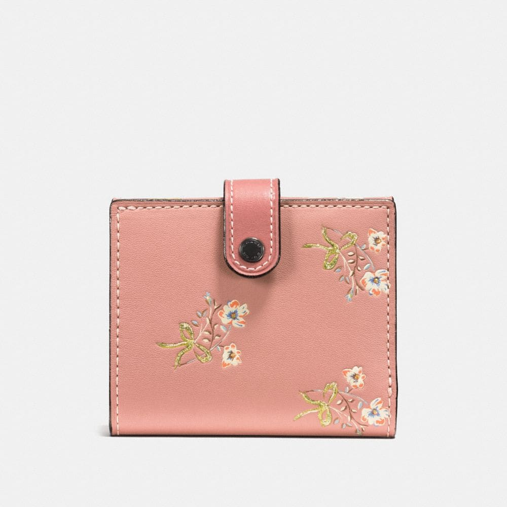 SMALL TRIFOLD WALLET IN GLOVETANNED LEATHER WITH FLORAL BOW PRINT