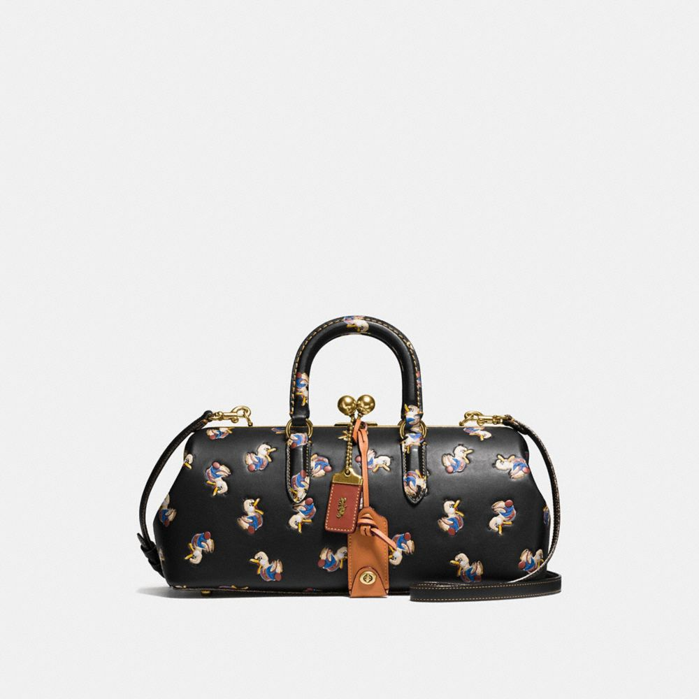 KISSLOCK SATCHEL 38 IN GLOVETANNED LEATHER WITH DUCK PRINT