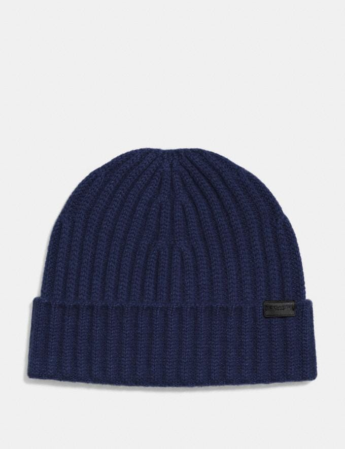Coach Cashmere Beanie Midnight Navy