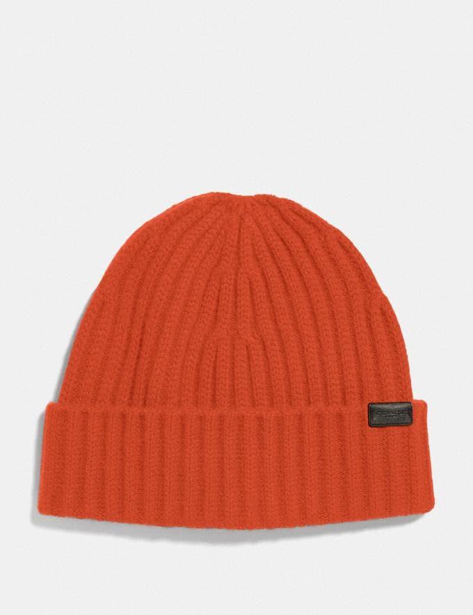 Coach Cashmere Beanie Red/Orange Men Accessories Hats, Scarves & Gloves