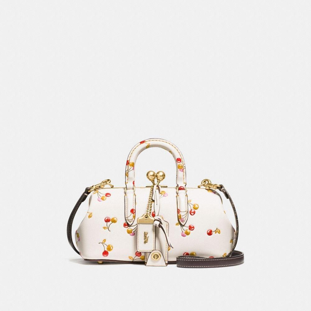 kisslock satchel with cherry print