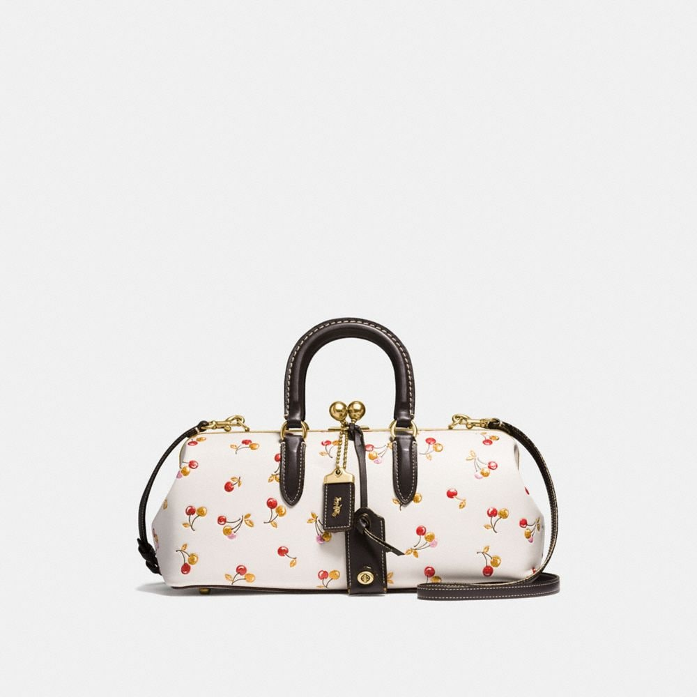 KISSLOCK SATCHEL 38 IN GLOVETANNED LEATHER WITH COLORBLOCK CHERRY PRINT