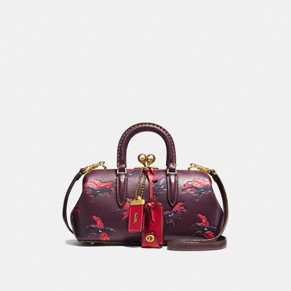 Coach Kisslock Satchel With Colorblock Horse and Duck Print