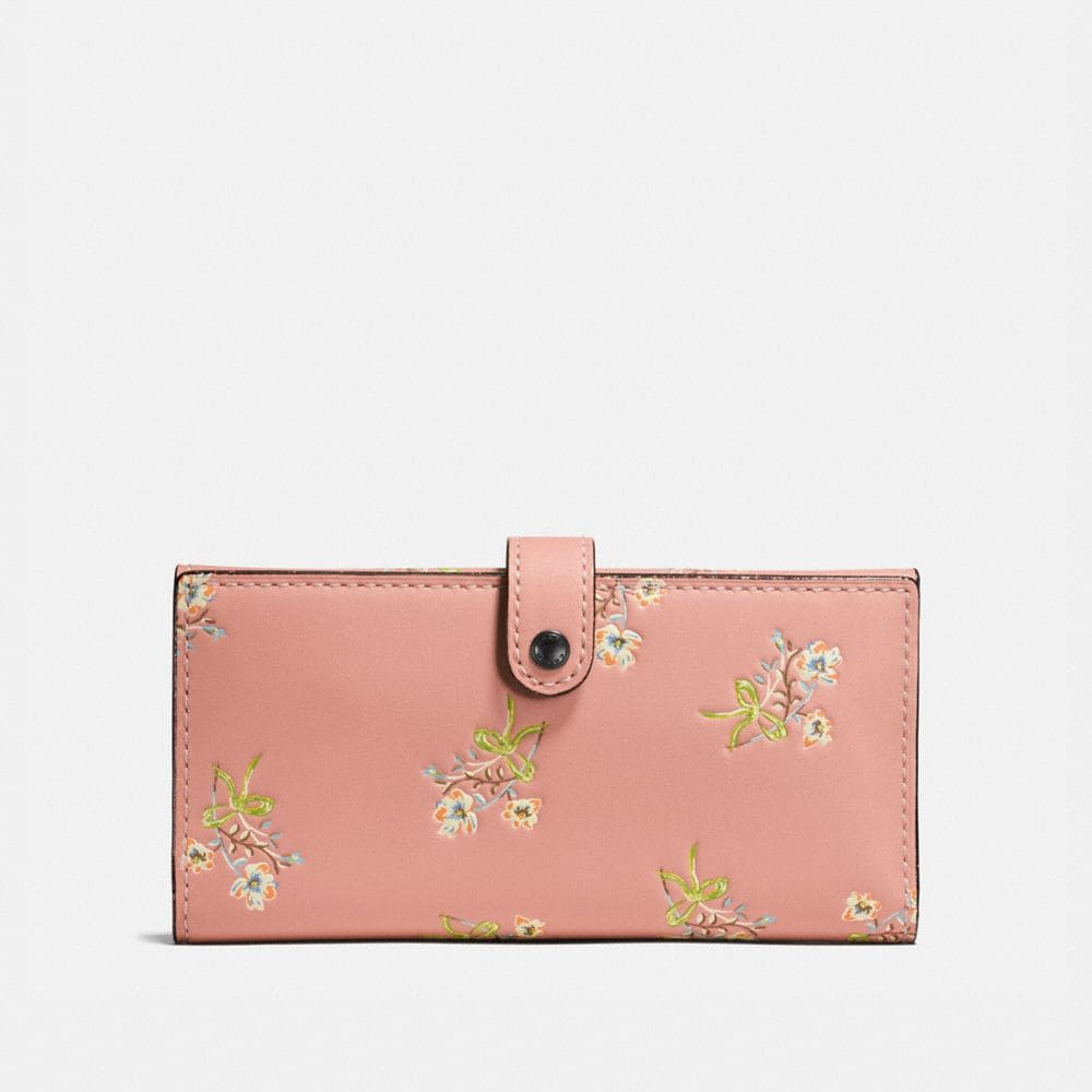Coach Slim Trifold Wallet With Floral Bow Print