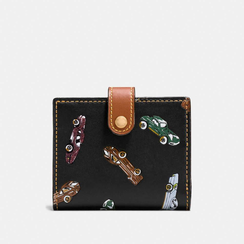 Coach Small Trifold Wallet With Car Print