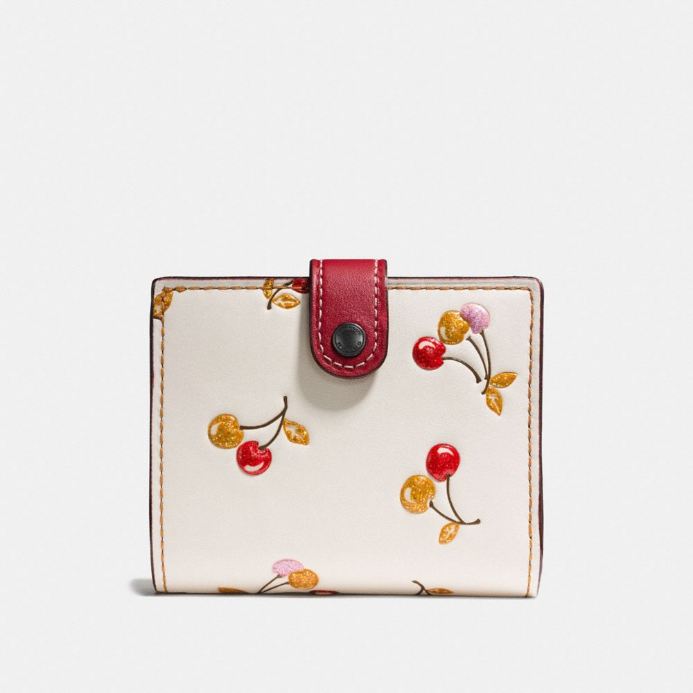 Coach Small Trifold Wallet With Cherry Print