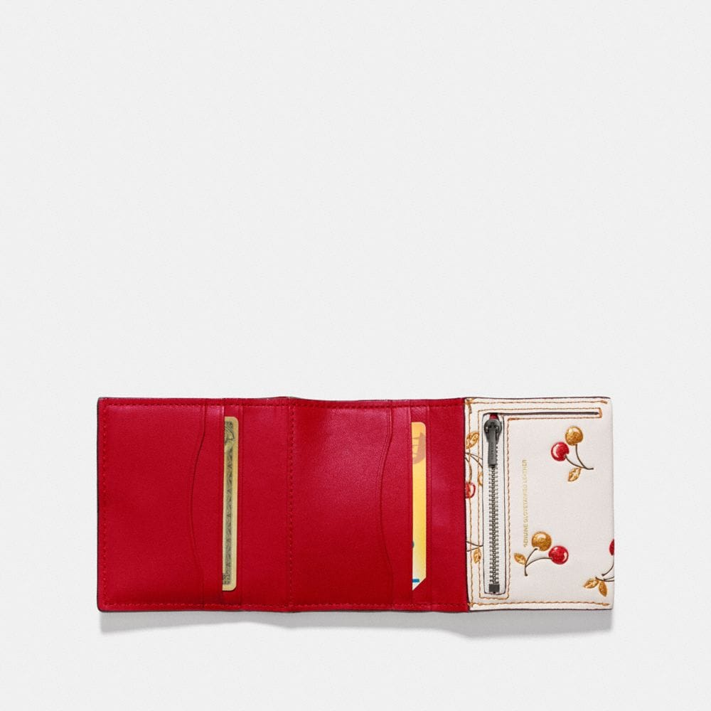 Coach Small Trifold Wallet With Cherry Print Alternate View 1