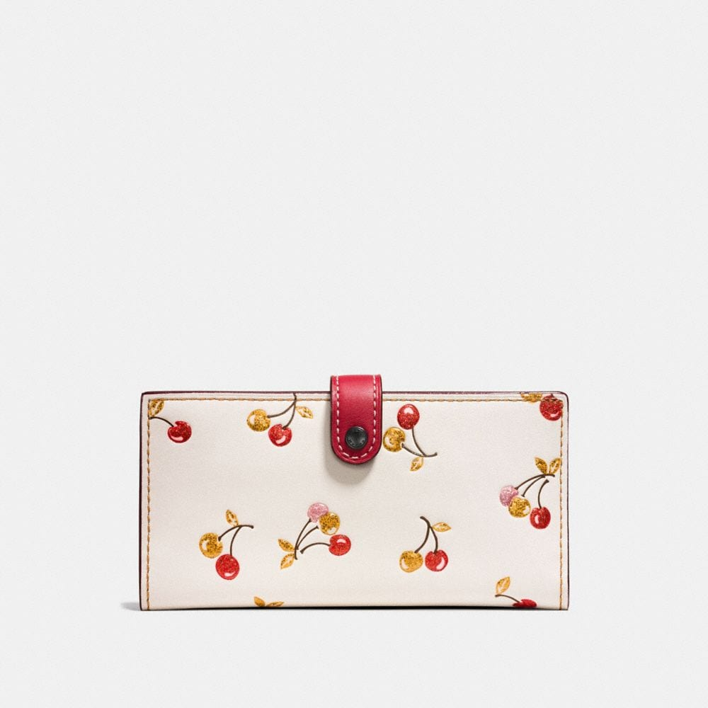 SLIM TRIFOLD WALLET WITH CHERRY PRINT